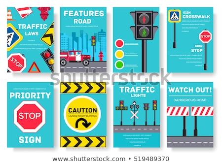 Regulação placa sinalizadora quilômetro por hora limite de velocidade Foto stock © iofoto