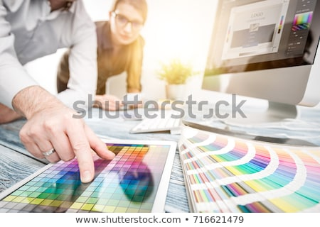 Designer munka szín minták grafikus kék Stock fotó © REDPIXEL