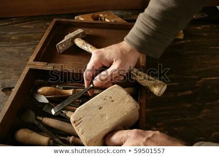 Foto stock: Carpintero · mano · herramientas · artista · madera · construcción