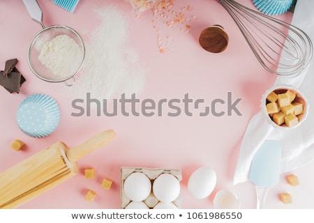 Stockfoto: Ingrediënten · tools · top · exemplaar · ruimte · houten