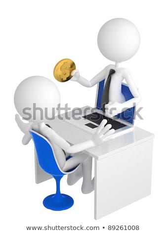 hombre · dinero · portátil · Screen · aislado · blanco - foto stock © kirill_m
