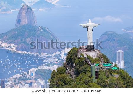 szobor · Brazília · villám · megmentő · kék · vihar - stock fotó © mayboro