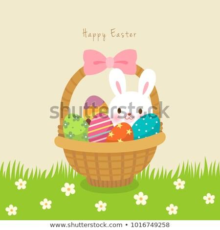 Paskalya · sepet · tavşan · pastel · renkli · yumurta · kahverengi - stok fotoğraf © obscura99