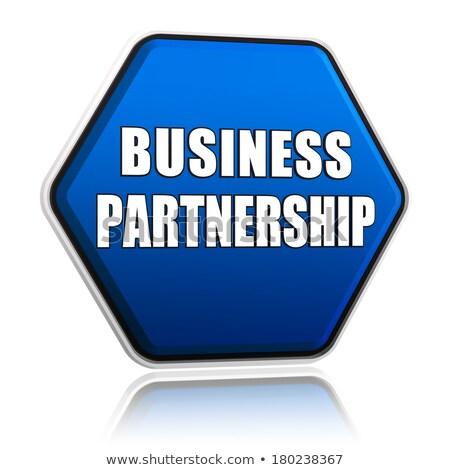 business partnership on blue hexagon banner Stock photo © marinini
