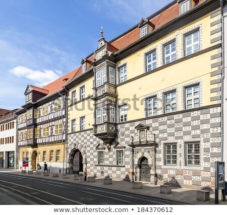 beautiful decorated house facades in Erfurt Stock photo © meinzahn