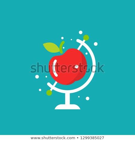 Rode appel atlas school voedsel boek kaart Stockfoto © songbird