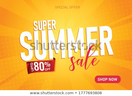 summer offer with sun sign yellow and orange drawn label stock photo © marinini