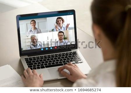 Starszy kobieta patrząc ramię portret biały Zdjęcia stock © bmonteny