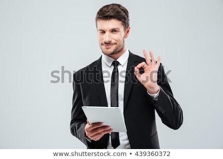 fiatal · üzletember · fehér · póló · nyakkendő · szemüveg - stock fotó © feelphotoart