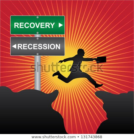Economic Recovery on Red Billboard. Stock photo © tashatuvango