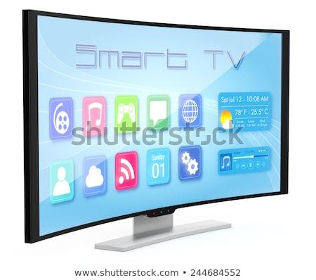 スマート · テレビ · 画面 · 白 · ビジネス · コンピュータ - ストックフォト © manaemedia