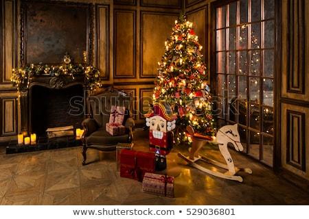 karácsonyfa · ajándékok · ablak · fa · otthon · háttér - stock fotó © ankarb