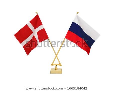 Россия Дания миниатюрный флагами изолированный белый Сток-фото © tashatuvango