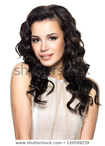 Beauty portrait of brunette woman with long wavy hair Isolated o Stock photo © Victoria_Andreas