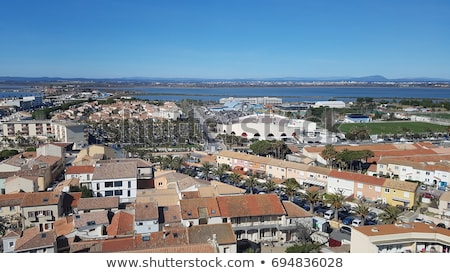 Aerial view of fishermen town on sunset Stock photo © Witthaya