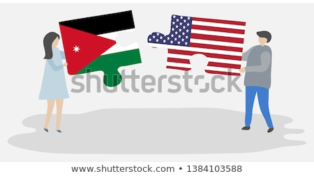 Zdjęcia stock: Usa And Jordan Flags In Puzzle