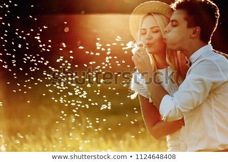 Sanat gün batımı portre genç mutlu çift Stok fotoğraf © dariazu