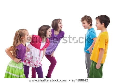 Angry sulking children pointing at each other Stock photo © erierika