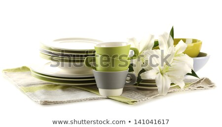 empty bowls, plates, cups for buffet Stock photo © art9858