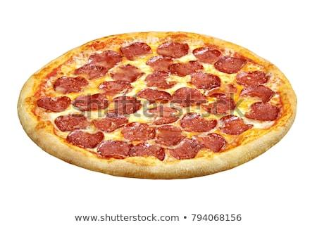 ízletes pepperoni pizza izolált fehér sajt Stock fotó © tetkoren