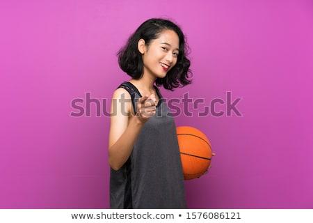 笑みを浮かべて フィットネス女性 バスケットボール ボール ストックフォト © deandrobot