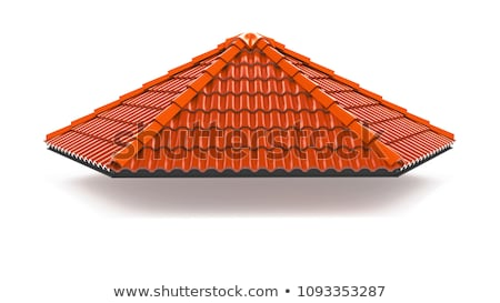 snow on red tiled roof stock photo © master1305