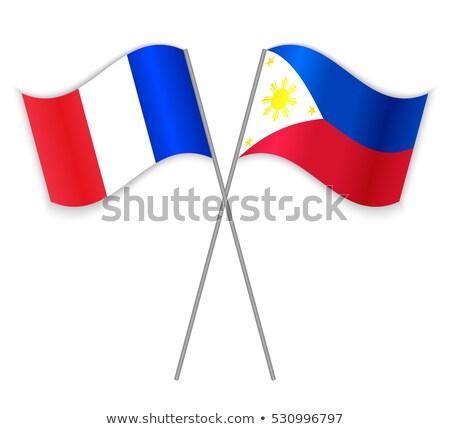 Fransa Filipinler bayraklar bilmece yalıtılmış beyaz Stok fotoğraf © Istanbul2009