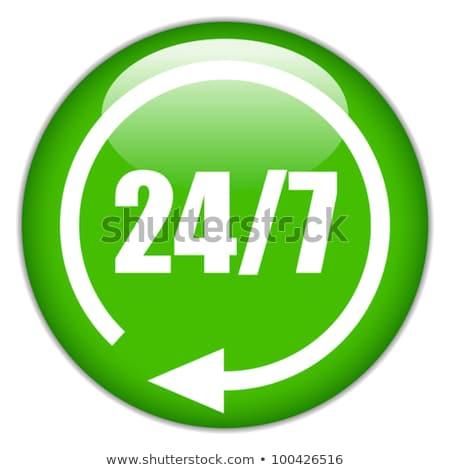 24 Hours Service Green Vector Icon Design Stock photo © rizwanali3d