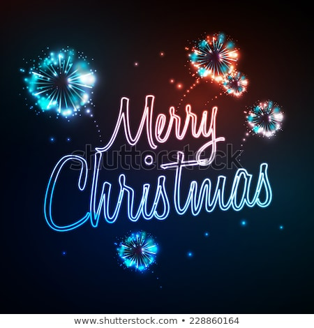 Stock photo: Neon sign. Merry christmas and firework retro vintage