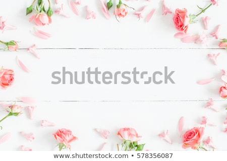 nő · rózsaszín · virágok · boldog · fekete · fürtös - stock fotó © choreograph