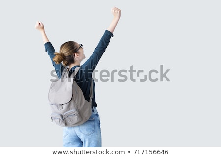 vrouwelijke · student · rugzak · geïsoleerd · witte · vrouw - stockfoto © deandrobot