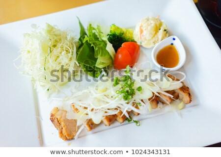 Disznóhús nyárs tavasz saláta keverék grillezett Stock fotó © Digifoodstock