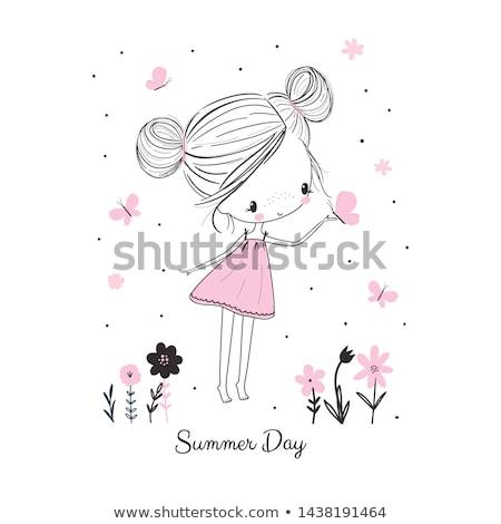 kertészkedés · lány · illusztráció · hordoz · anyagok · kert - stock fotó © carodi