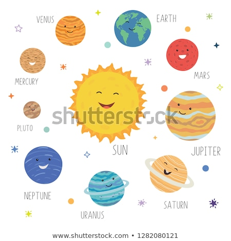 Planetas faces colorido branco globo fundo Foto stock © bluering