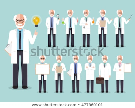 Elderly scientist cartoon character Stock photo © adrian_n