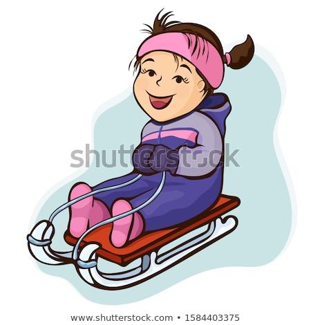 girl sledding flat vector illustration stock photo © vectorikart