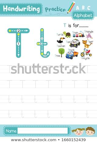 Litera t drzew ilustracja dzieci dziecko tle Zdjęcia stock © bluering