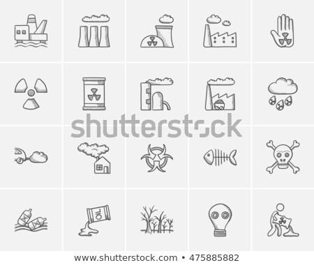 man with oil barrel sketch icon stock photo © rastudio