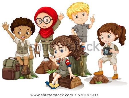 Kids in camping outfit standing on woods Stock photo © bluering