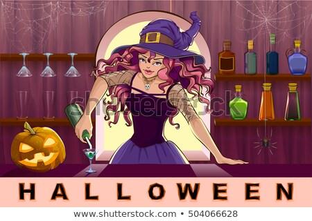 ストックフォト: 美しい · かなり · 魔女 · 少女 · カクテル · ハロウィン