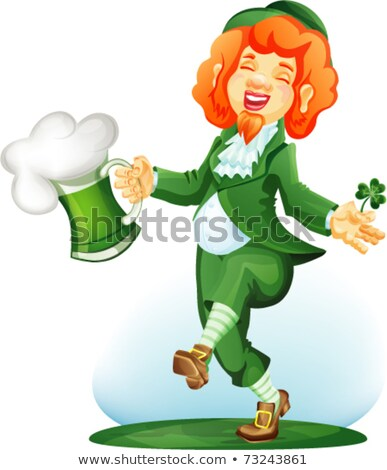 Dancing leprechaun with goblet of green beer and three leaf shamrock.  Stock photo © synentchenko