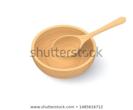 Vuota cucchiaio legno gestire bianco Foto d'archivio © Digifoodstock