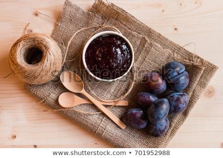 ciruela · atasco · detalle · cuchara · alimentos - foto stock © digifoodstock