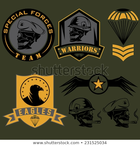 set of military emblems templates skull in paratrooper beret s stock photo © masay256