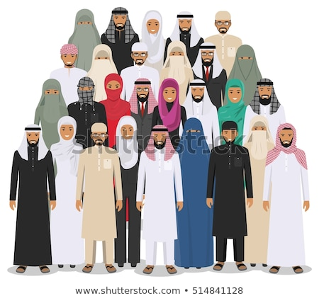 saudi arab people characters stand set in flat style isolated on stock photo © nikodzhi