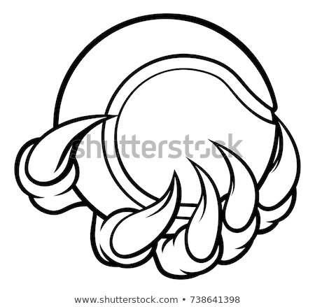 Monster dier klauw tennisbal papier Stockfoto © Krisdog