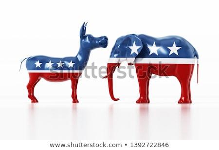 Siluet eşek kavga fil amerikan bayrağı Stok fotoğraf © Krisdog