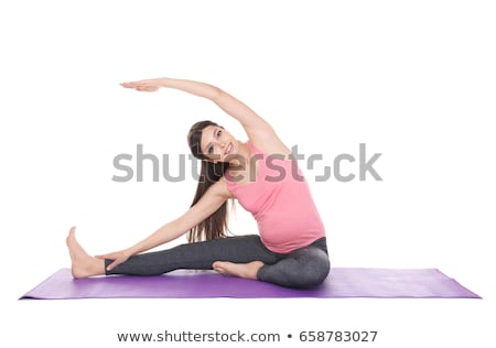 terhes · nő · nyújtás · ül · előad · testmozgás · nő - stock fotó © julenochek