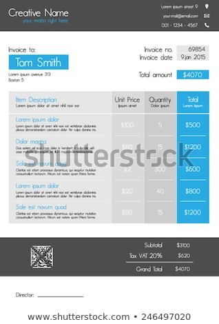 blue invoice template design in simple style stock photo © sarts