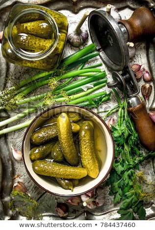 pickling cucumbers ingredients, herbs, spices, top view, rustic style Stock photo © yelenayemchuk